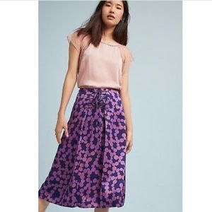 New • Anthropologie Zadie Lace-up Plum Skirt